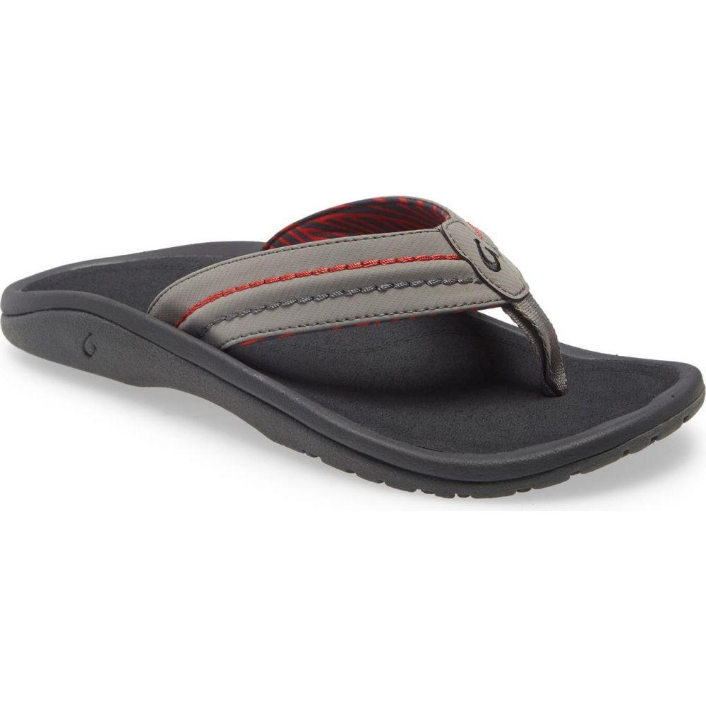 オルカイ メンズ シューズ・靴 ビーチサンダル Dark Shadow/Lehua Fabric 【サイズ交換無料】 オルカイ OLUKAI メンズ ビーチサンダル シューズ・靴【'Hokua' Flip Flop】Dark Shadow/Lehua Fabric