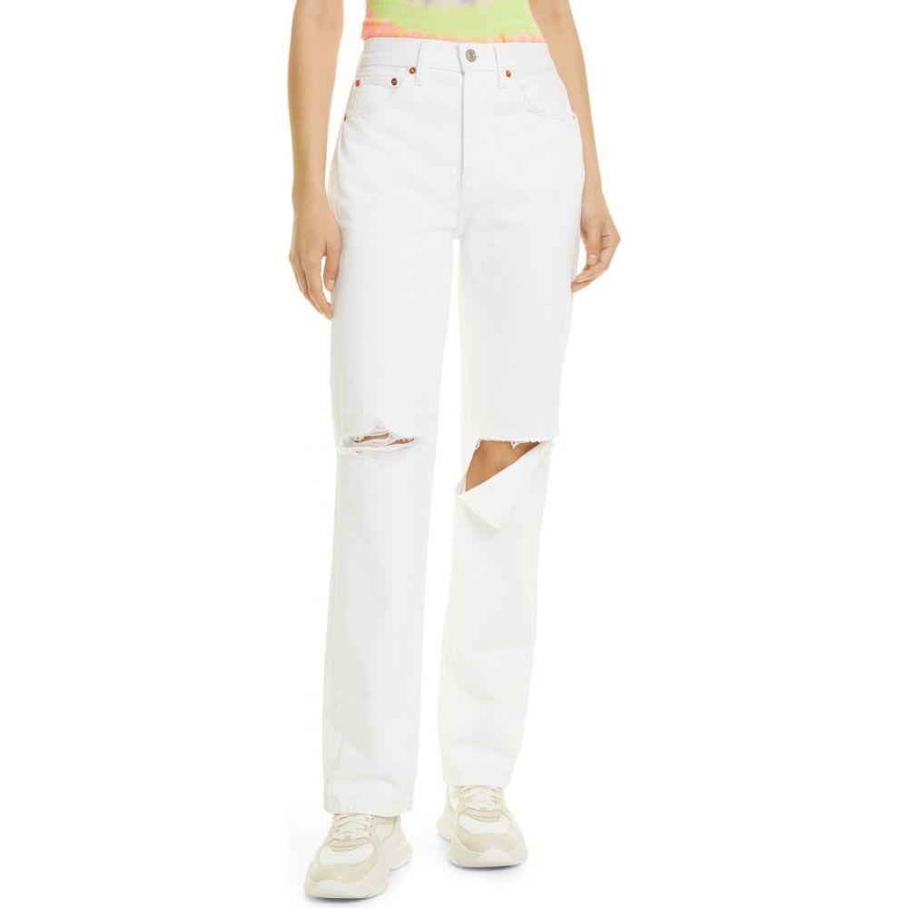 リダン RE/DONE レディース ジーンズ・デニム ボトムス・パンツ【High Waist Loose Jeans】White With Rips