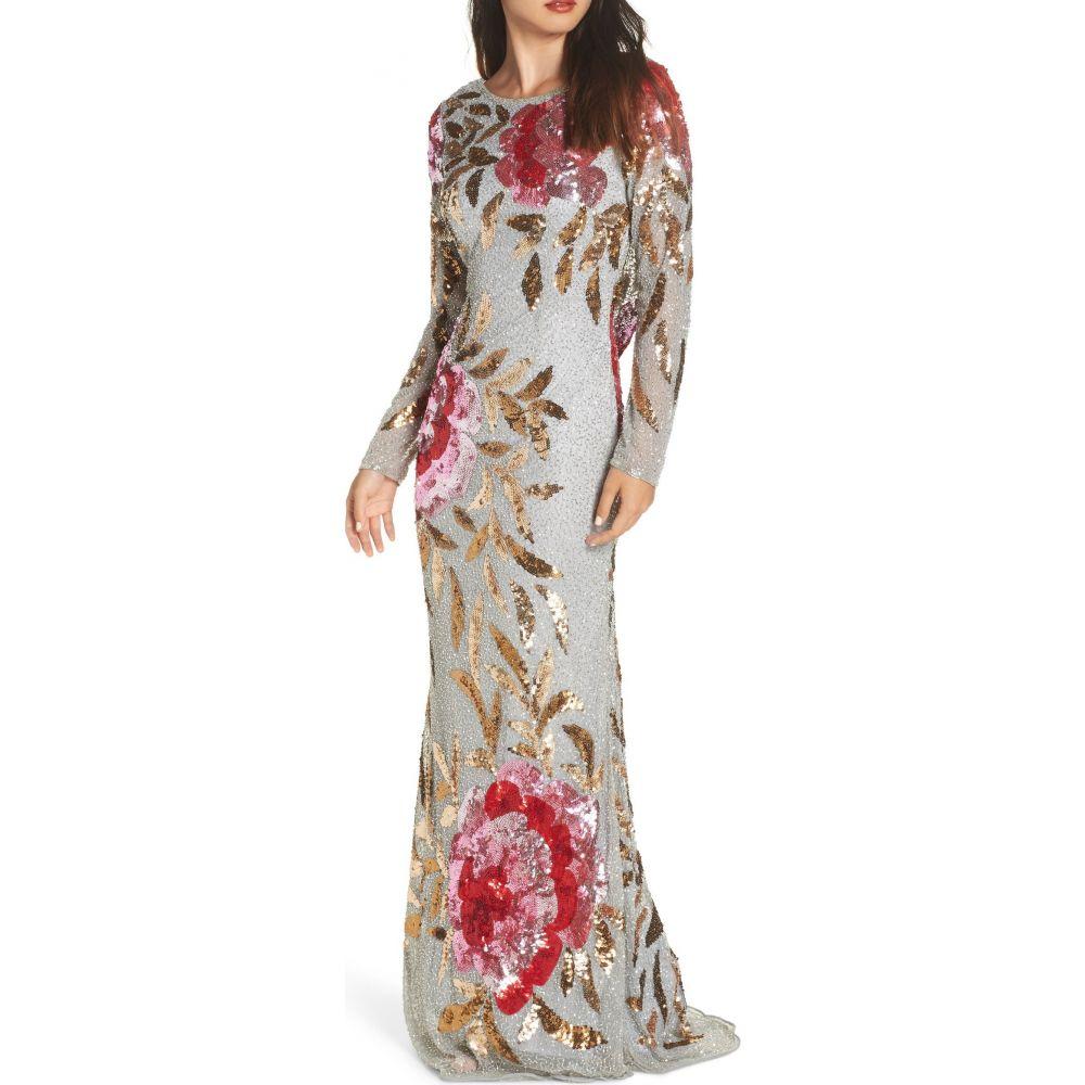マックドゥガル レディース ワンピース ドレス パーティードレス Black Red Multi Gown 予約販売 DUGGAL Column おすすめ特集 Long サイズ交換無料 Sequin MAC Sleeve