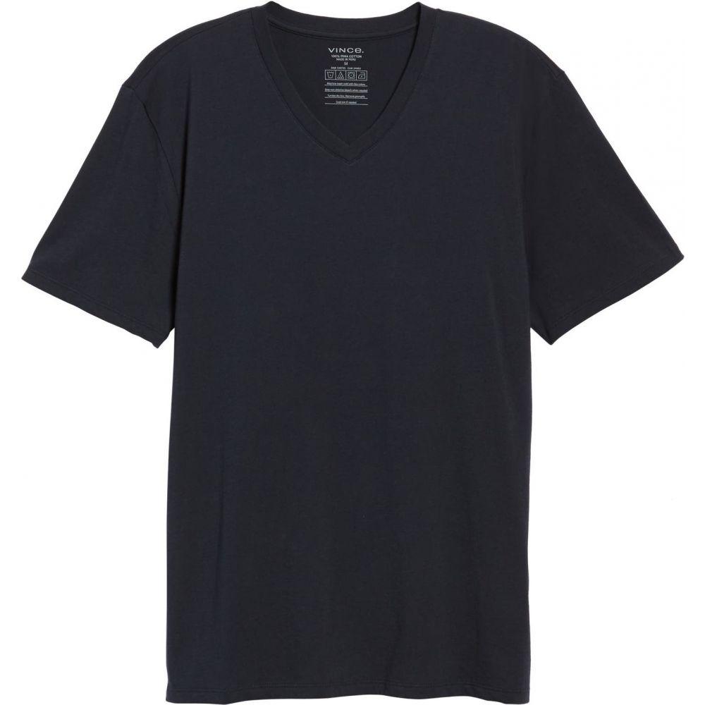 ヴィンス メンズ トップス NEW ARRIVAL Tシャツ ◇限定Special Price Coastal Blue サイズ交換無料 VINCE Vネック Pima Slim V-Neck Cotton Fit T-Shirt