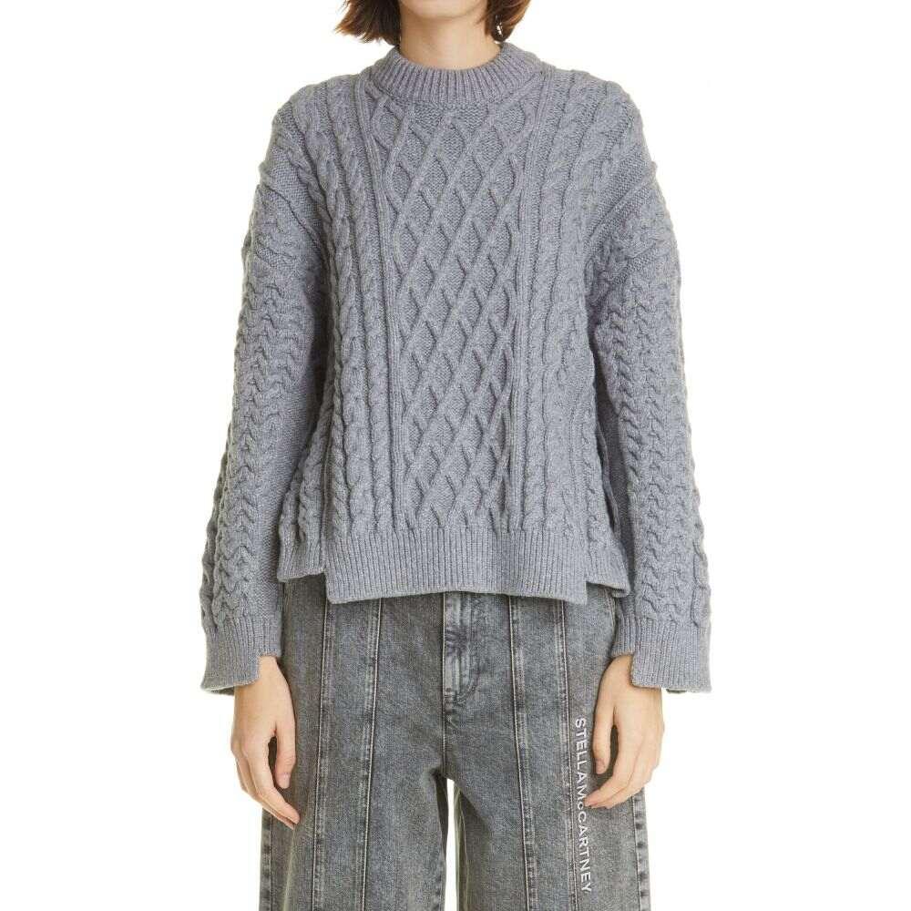 ステラ マッカートニー STELLA MCCARTNEY レディース ニット・セーター ケーブルニット トップス【Aran Oversize Organic Cotton Blend Sweater】Light Grey Melange