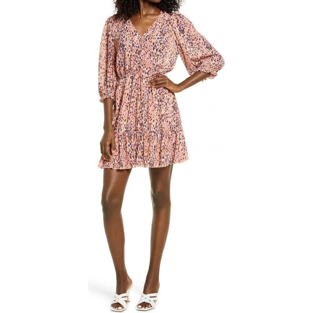 ルルズ レディース ワンピース ドレス まとめ買い特価 数量は多 Mauve Multi Minidress ミニ丈 Print LULUS サイズ交換無料 Floral