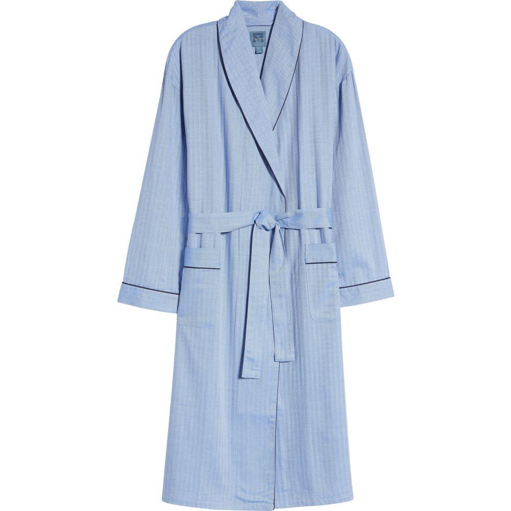 マジェスティック メンズ インナー・下着 ガウン・バスローブ Blue マジェスティック MAJESTIC INTERNATIONAL メンズ ガウン・バスローブ インナー・下着【'Signature' Cotton Robe】Blue
