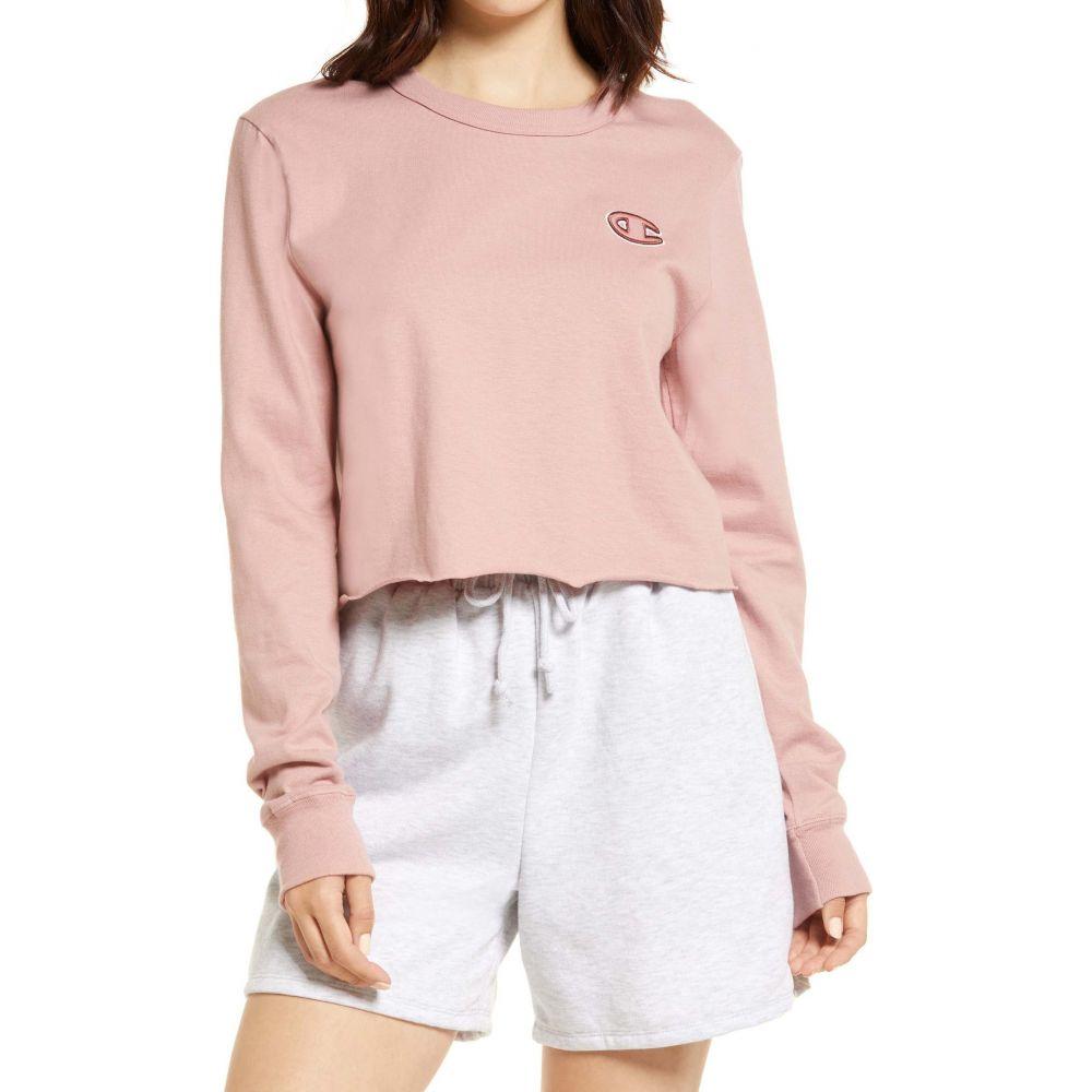 チャンピオン レディース トップス ふるさと割 スウェット トレーナー Pink Beige サイズ交換無料 Sweatshirt 返品不可 クロップド CHAMPION Boyfriend Cotton Crop