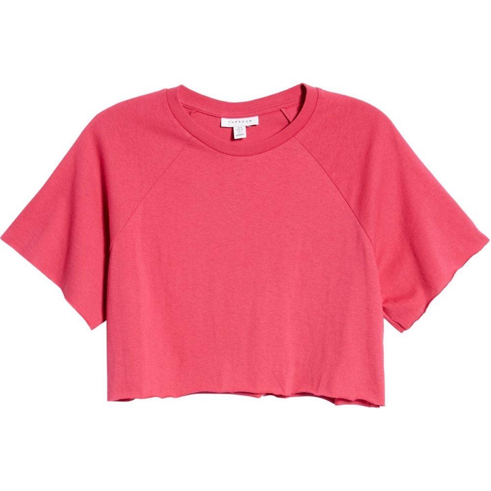 トップショップ レディース トップス ベアトップ・チューブトップ・クロップド Bright Pink 【サイズ交換無料】 トップショップ TOPSHOP レディース ベアトップ・チューブトップ・クロップド Tシャツ ラグラン トップス【Raglan Crop T-Shirt】Bright Pink