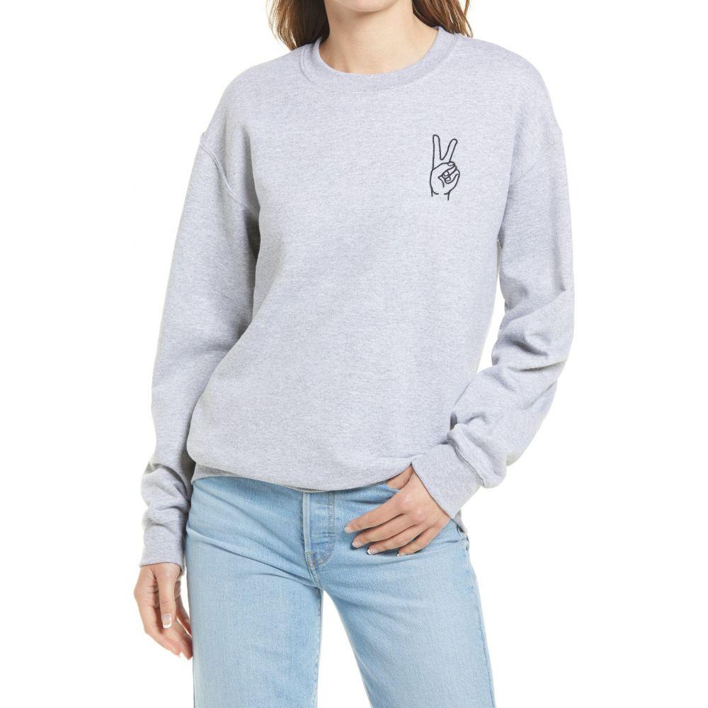 トレジャーボンド レディース トップス スウェット トレーナー Grey 公式サイト 新発売 Heather Embroidered Sweatshirt Peace BOND サイズ交換無料 TREASURE
