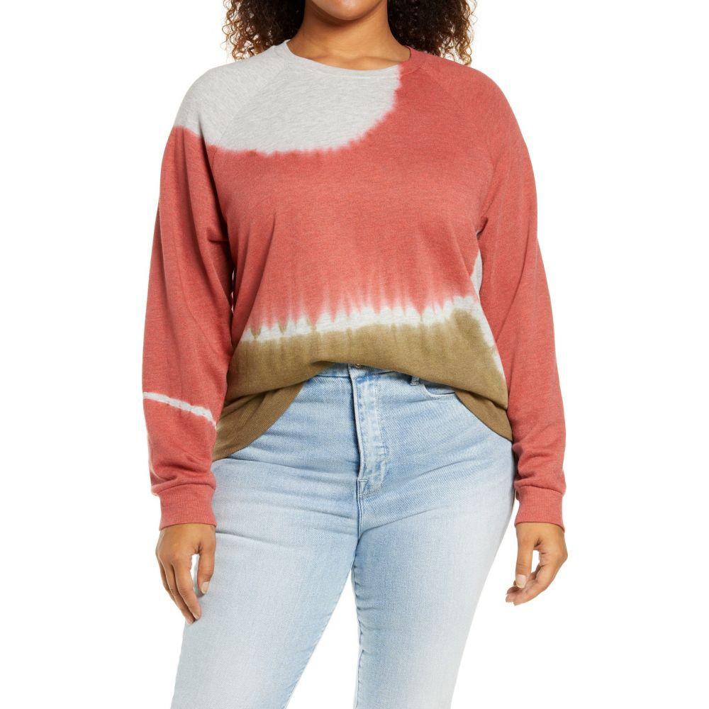 トレジャーボンド レディース 感謝価格 トップス スウェット トレーナー Pink Mauve Brown Combo サイズ交換無料 Sweatshirt オンラインショッピング Organic Cotton Blend Tie Colorblock BOND TREASURE Dye
