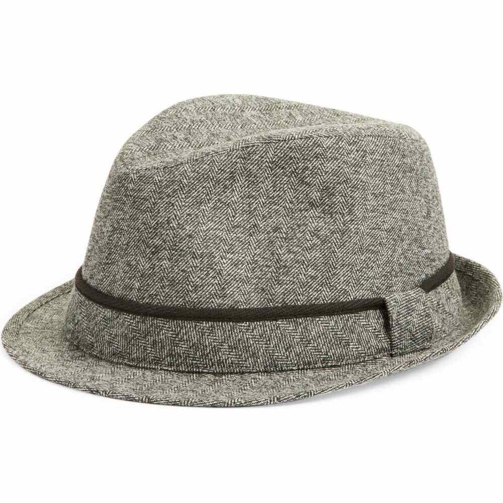 高価値 ノードストローム メンズ 帽子 高級 Grey Combo Hat NORDSTROM Trilby Herringbone サイズ交換無料