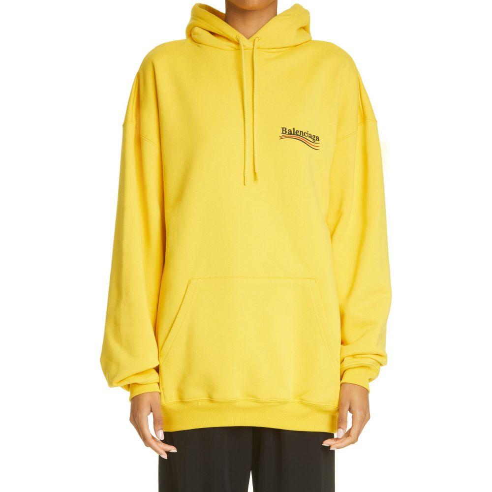 バレンシアガ BALENCIAGA レディース パーカー トップス【Campaign Logo Oversize Cotton Hoodie】Yellow/Black/Red