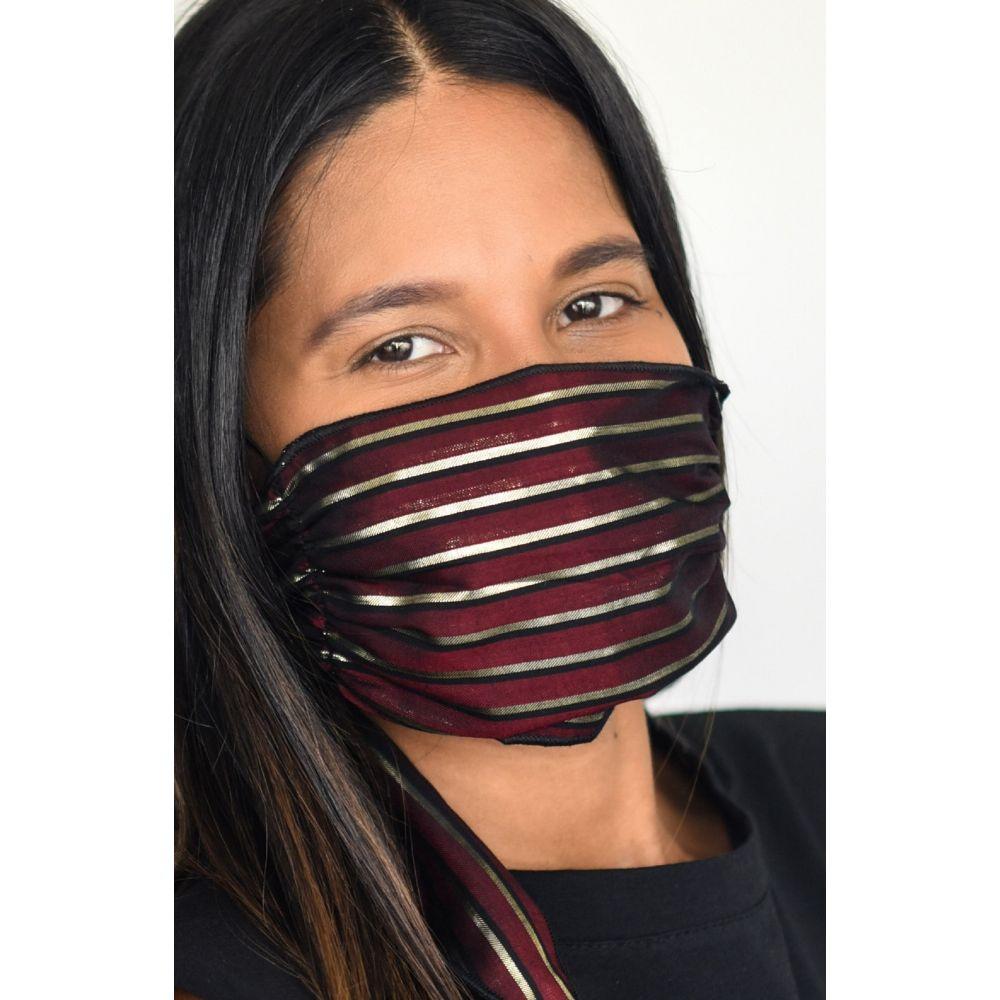 マリ リリー レディース ファッション小物 マフラー スカーフ ストール Wine サイズ交換無料 MALI Stripe Mask Layer + Shimmer 特売 Four メーカー直売 LILI Scarf マスク Adult