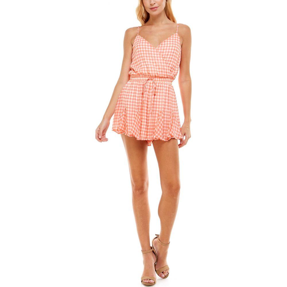 ロー A レディース ワンピース ドレス 再入荷 予約販売 オールインワン Pink Romper White ROW サイズ交換無料 Gingham Surplice 大決算セール