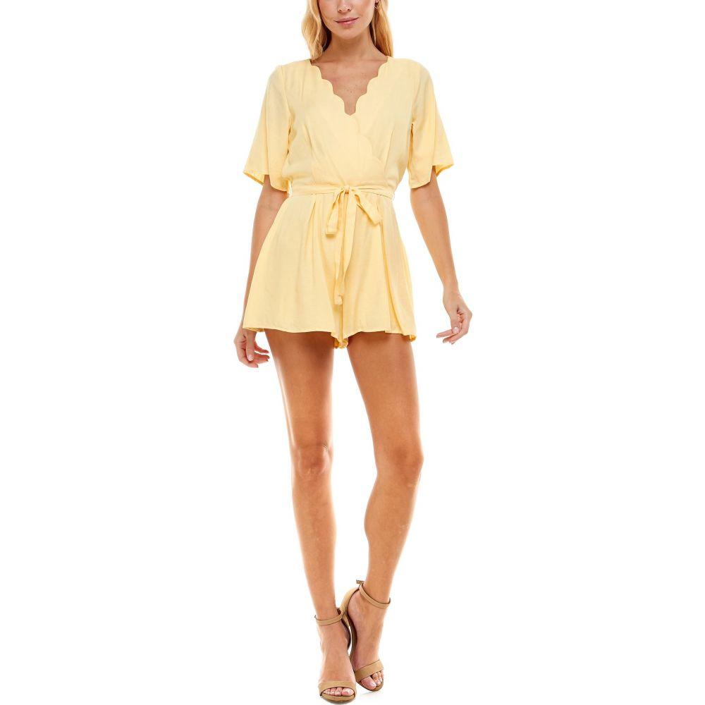 ロー A レディース ワンピース ドレス オールインワン Light Yellow Wrap ROW メイルオーダー Romper サイズ交換無料 Front Scallop Neck セール価格