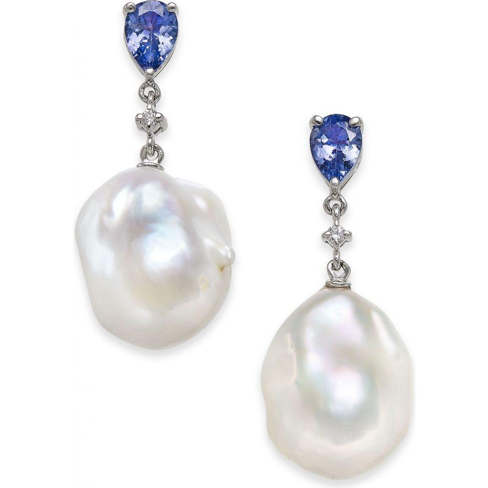 メイシーズ ユニセックス ジュエリー アクセサリー イヤリング ピアス Gold サイズ交換無料 Macy's ドロップピアス Tanzanite 1-3 8 ct. 日本 Pearl White 14k Earrings in t.w. Baroque Diamond Freshwater 正規品 Accent Drop 13mm Cultured