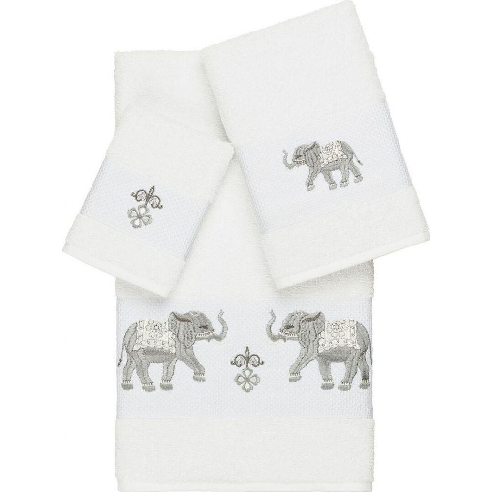 リナムホームテキスタイル ユニセックス 財布・時計・雑貨 タオル White 【サイズ交換無料】 リナムホームテキスタイル Linum Home ユニセックス タオル 【Quinn 3-Pc. Embroidered Turkish Cotton Towel Set】White