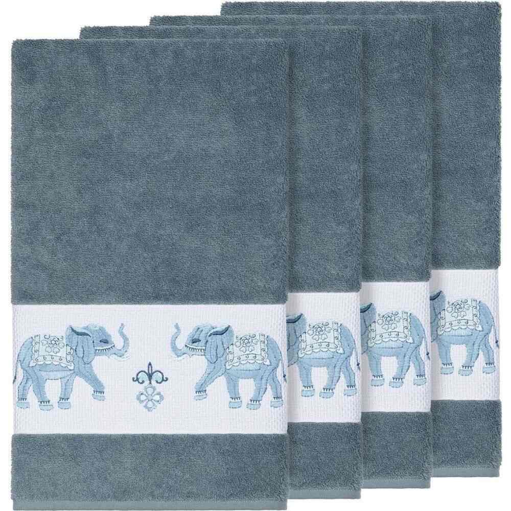 リナムホームテキスタイル ユニセックス 財布・時計・雑貨 タオル Teal 【サイズ交換無料】 リナムホームテキスタイル Linum Home ユニセックス タオル 【Quinn 4-Pc. Embroidered Turkish Cotton Bath Towel Set】Teal