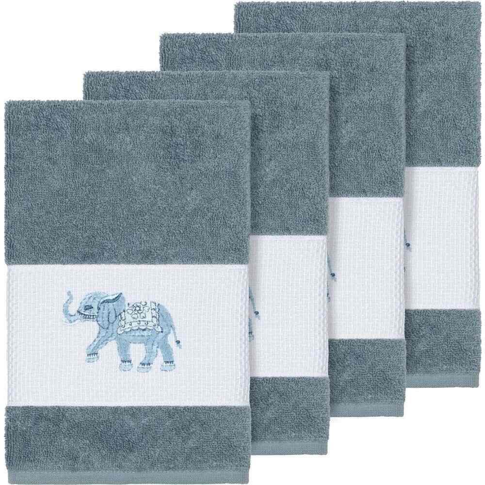 リナムホームテキスタイル ユニセックス 財布・時計・雑貨 タオル Teal 【サイズ交換無料】 リナムホームテキスタイル Linum Home ユニセックス タオル 【Quinn 4-Pc. Embroidered Turkish Cotton Hand Towel Set】Teal