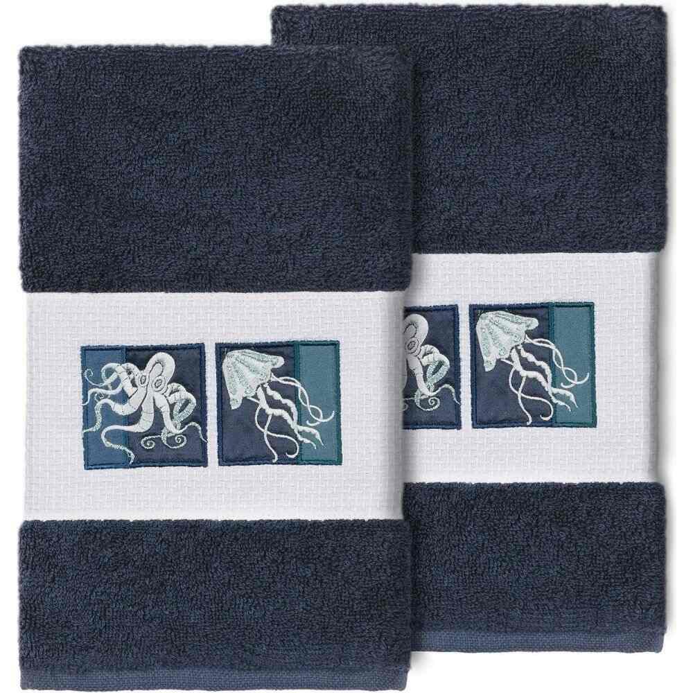 リナムホームテキスタイル ユニセックス 財布・時計・雑貨 タオル Midnight Blue 【サイズ交換無料】 リナムホームテキスタイル Linum Home ユニセックス タオル 【100% Turkish Cotton Ava 2-Pc. Embellished Hand Towel Set】Midnight Blue