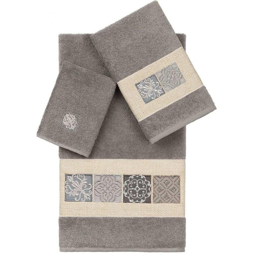 リナムホームテキスタイル ユニセックス 財布 時計 雑貨 タオル Dark Gray 豪華な サイズ交換無料 Linum Towel Vivian Set Turkish Embellished 3-Pc. 100% 驚きの値段 Home Cotton