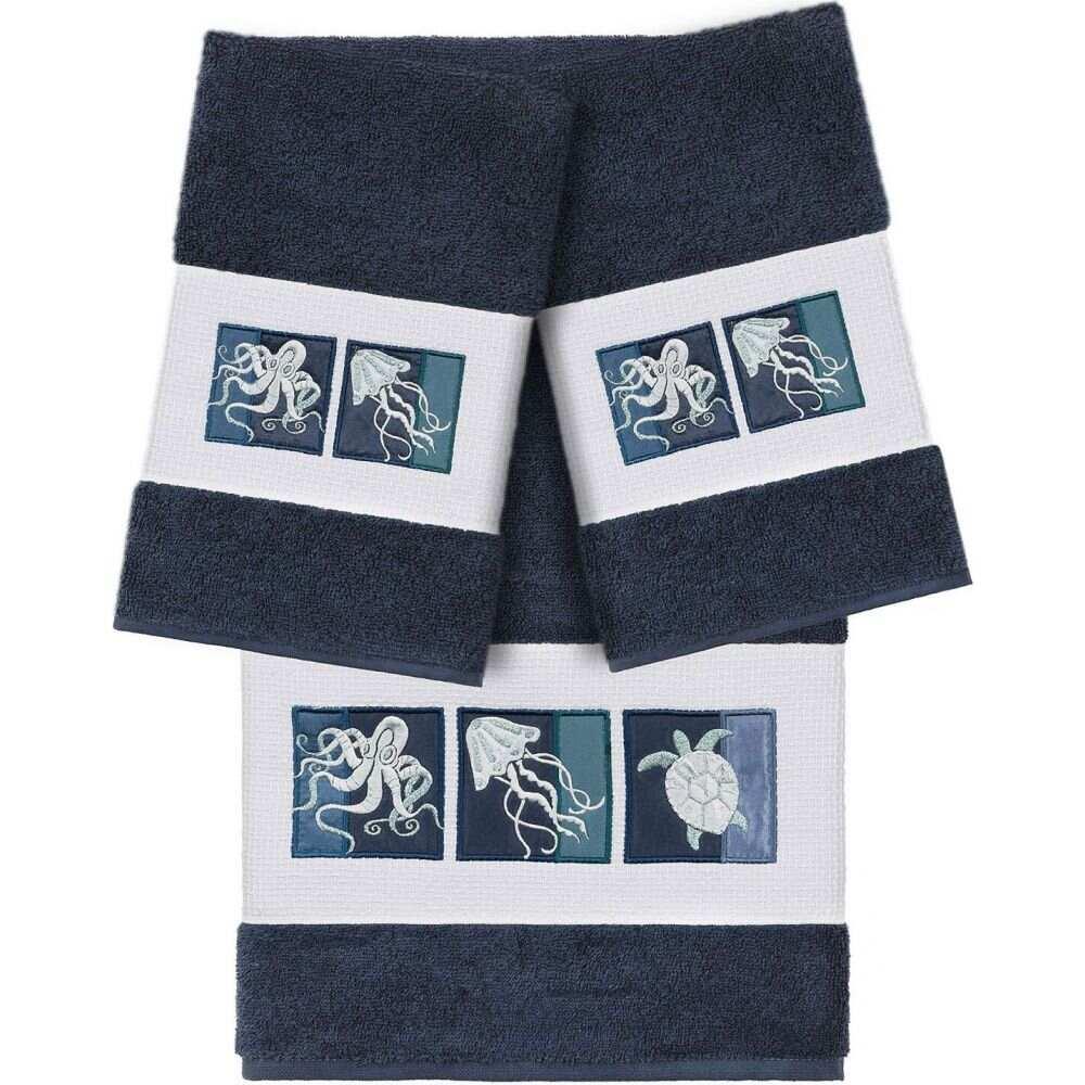 リナムホームテキスタイル ユニセックス 財布・時計・雑貨 タオル Midnight Blue 【サイズ交換無料】 リナムホームテキスタイル Linum Home ユニセックス タオル 【100% Turkish Cotton Ava 3-Pc. Embellished Bath and Hand Towel Set】Midnight Blue