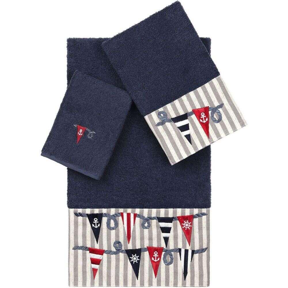リナムホームテキスタイル ユニセックス 財布・時計・雑貨 タオル Midnight Blue 【サイズ交換無料】 リナムホームテキスタイル Linum Home ユニセックス タオル 【100% Turkish Cotton Ethan 3-Pc. Embellished Towel Set】Midnight Blue