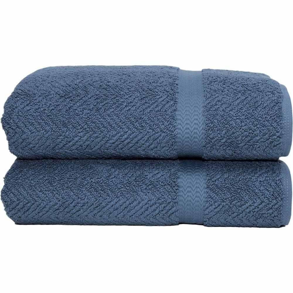 リナムホームテキスタイル ユニセックス 財布・時計・雑貨 タオル Navy 【サイズ交換無料】 リナムホームテキスタイル Linum Home ユニセックス タオル 【Herringbone 2-Pc. Bath Towel Set】Navy