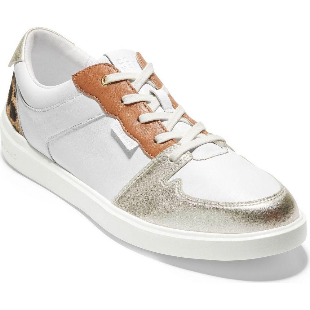 コールハーン レディース テニス シューズ 靴 日本正規代理店品 Optic White Lthr Soft Gold Metallic Grand Cole Tennis Crosscourt Leather 商い サイズ交換無料 スニーカー Haan Modern Sneakers