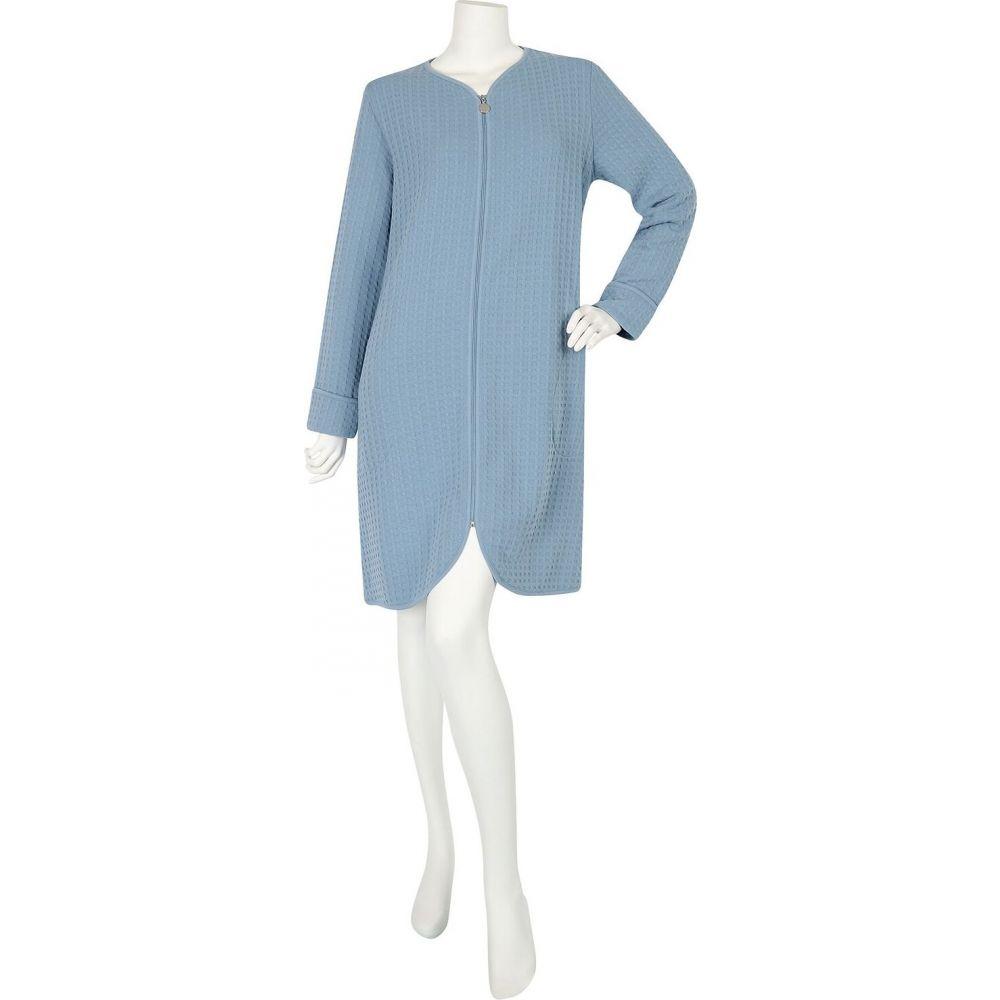 ミス エレーン Miss Elaine レディース ガウン・バスローブ ショート丈 インナー・下着【Textured Short Zip Robe】Misty Blue