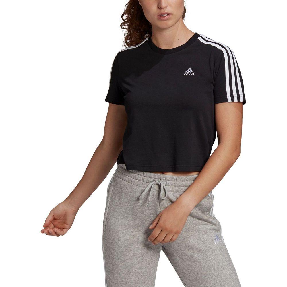アディダス レディース トップス ベアトップ チューブトップ クロップド Black サイズ交換無料 Stripe 全国一律送料無料 Cotton 3 adidas T-Shirt Cropped お買得 Tシャツ