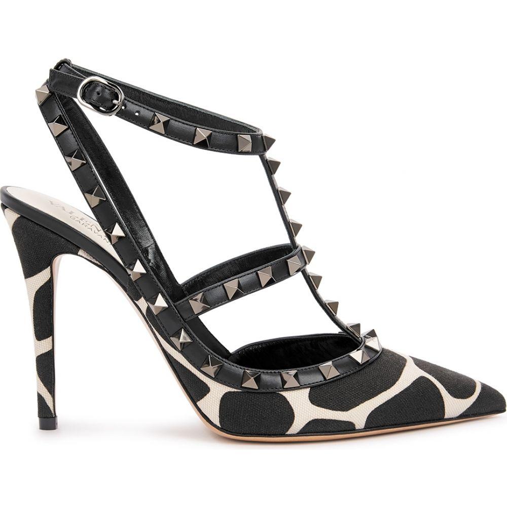 ヴァレンティノ Valentino レディース パンプス シューズ・靴【Garavani Rockstud 100 Giraffe-Print Canvas Pumps】Black