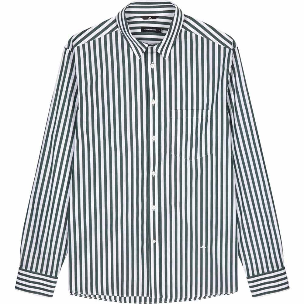 ジェイ リンドバーグ J.Lindeberg メンズ シャツ トップス【Daniel White Striped Cotton Shirt】White