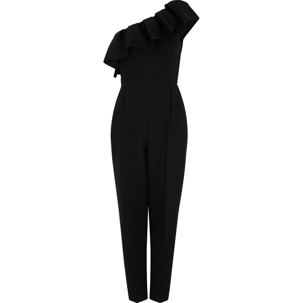 エムエスジーエム MSGM レディース オールインワン ジャンプスーツ ワンショルダー ワンピース・ドレス【Black Ruffled One-Shoulder Jumpsuit】Black