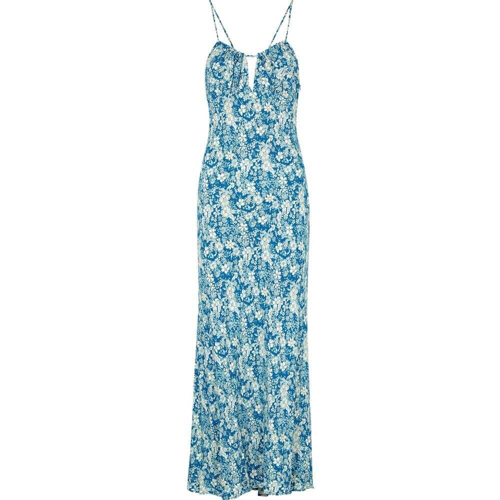 フリーピープル Free People レディース ワンピース ミドル丈 ワンピース・ドレス【Bon Voyage Floral-Print Midi Dress】Blue