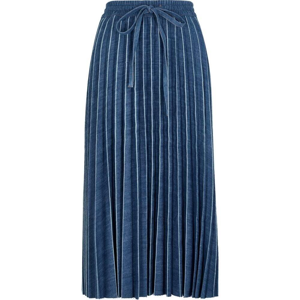 ヴァレンティノ RED Valentino レディース ひざ丈スカート デニム スカート【Blue Pleated Denim Midi Skirt】Blue
