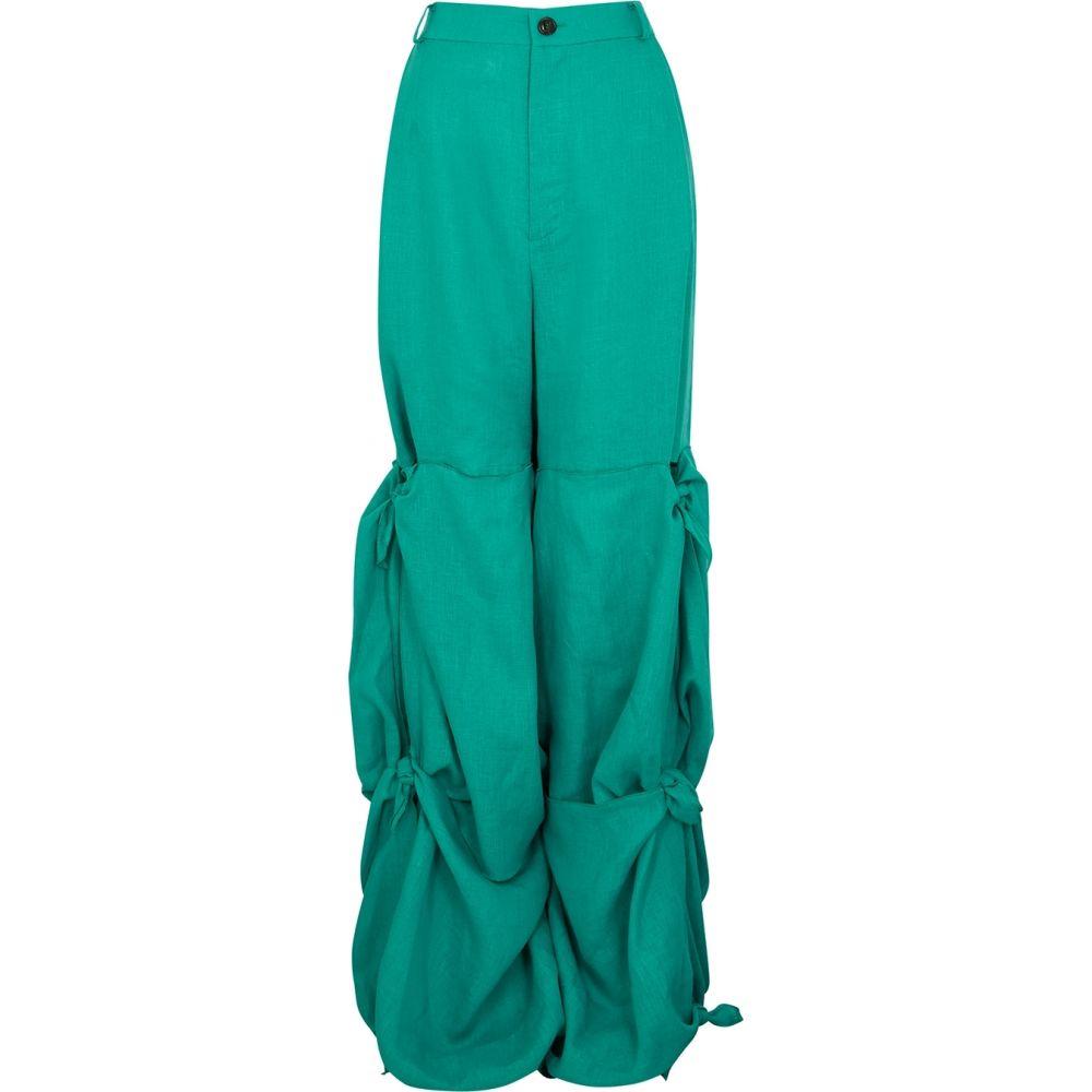 ナターシャ ジンコ Natasha Zinko レディース ボトムス・パンツ 【Aqua Ruched Linen Trousers】Blue
