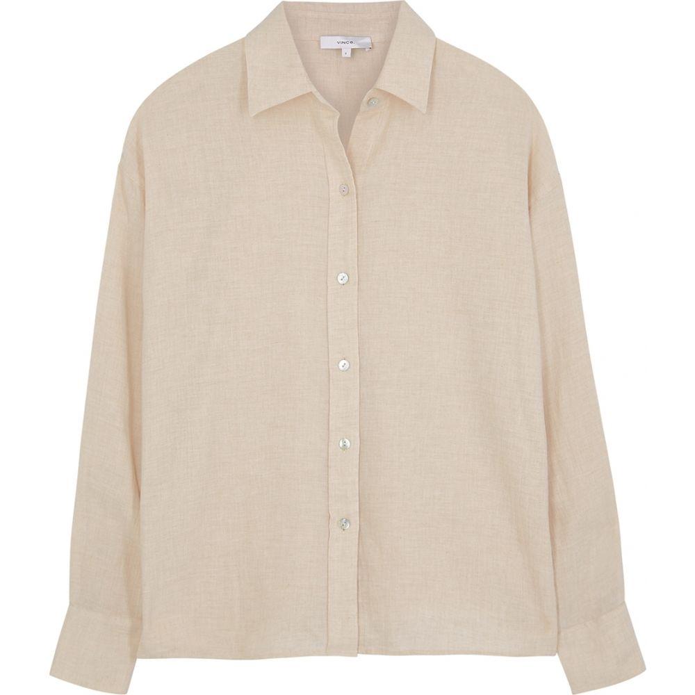 ヴィンス Vince レディース ブラウス・シャツ トップス【Cream Brushed Cotton-Blend Shirt】Natural