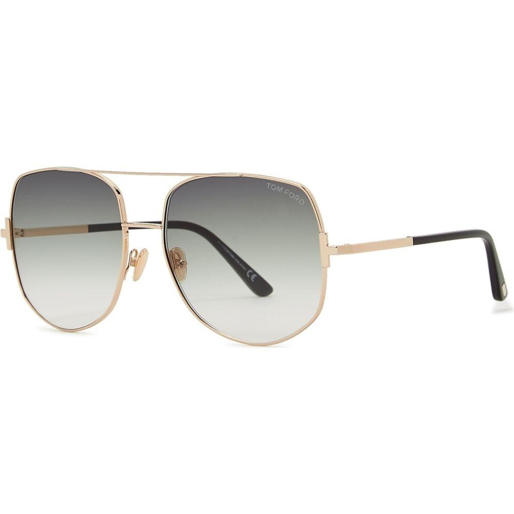 トム フォード Tom Ford レディース メガネ・サングラス 【Lennox Gold-Tone Aviator-Style Sunglasses】Gold