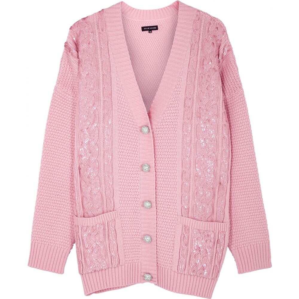 アイザック アザネイ Izaak Azanei レディース カーディガン トップス【Pink Sequin-Embellished Merino Wool Cardigan】Pink