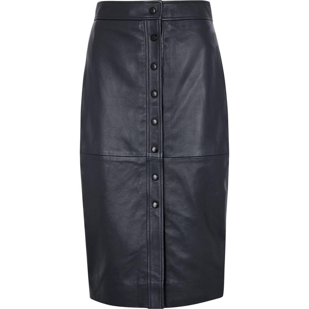 エキプモン Equipment レディース ひざ丈スカート スカート【Violette Navy Leather Midi Skirt】Navy