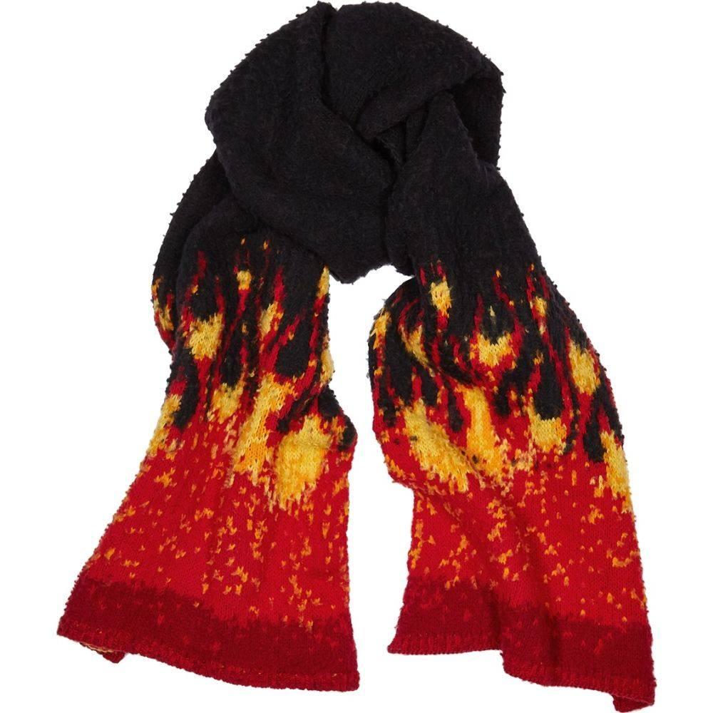 パーム エンジェルス Palm Angels メンズ マフラー・スカーフ・ストール 【Black Flame-Intarsia Wool-Blend Scarf】Black