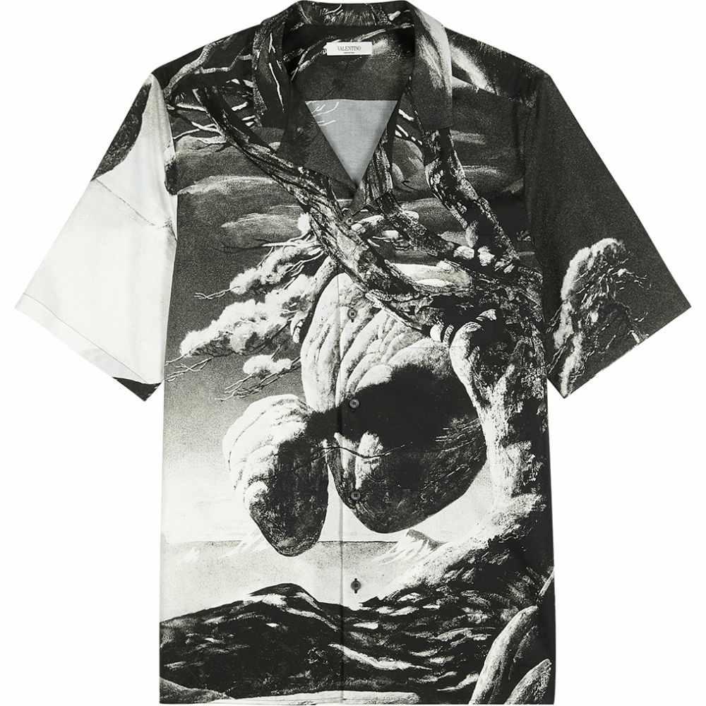 ヴァレンティノ Valentino メンズ 半袖シャツ トップス【Monochrome Printed Cotton Shirt】Black