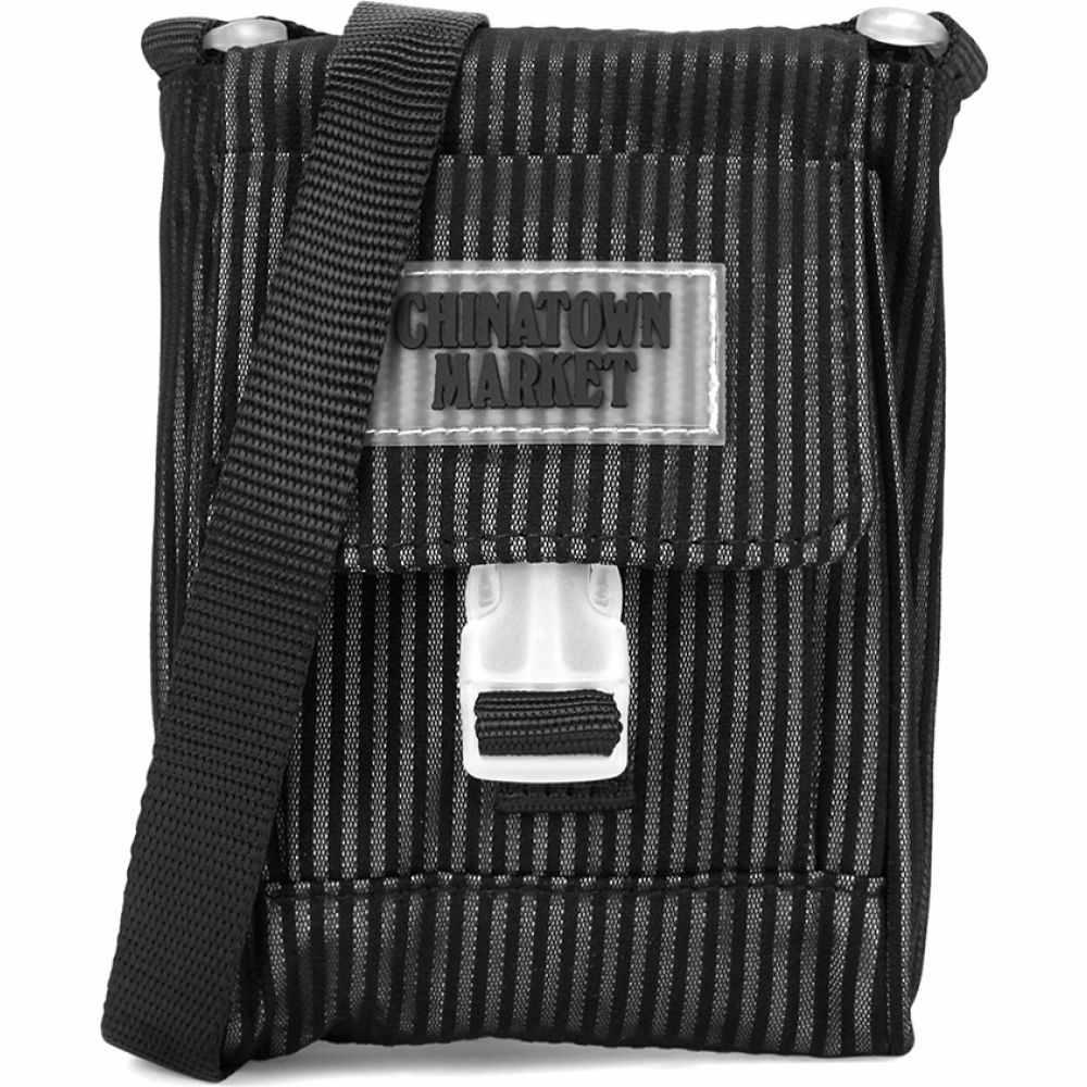 チャイナタウンマケット Chinatown Market メンズ ショルダーバッグ バッグ【Striped Reflective Cross-Body Bag】Black