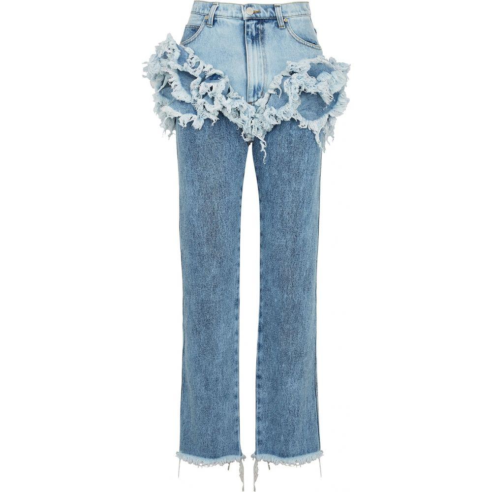 ナターシャ ジンコ Natasha Zinko レディース ジーンズ・デニム ボトムス・パンツ【Blue Ruffled Straight-Leg Jeans】Blue