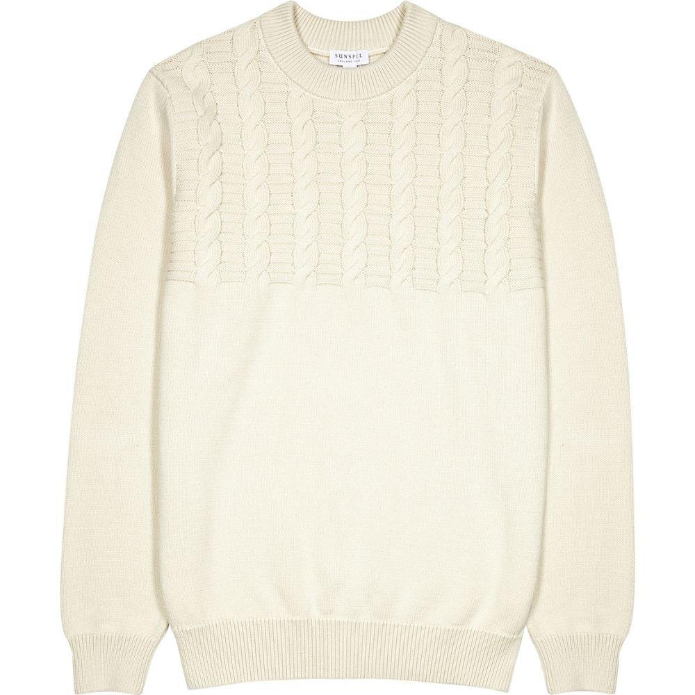 サンスペル Sunspel メンズ ニット・セーター トップス【Ecru Cable-Knit Cotton Jumper】Natural