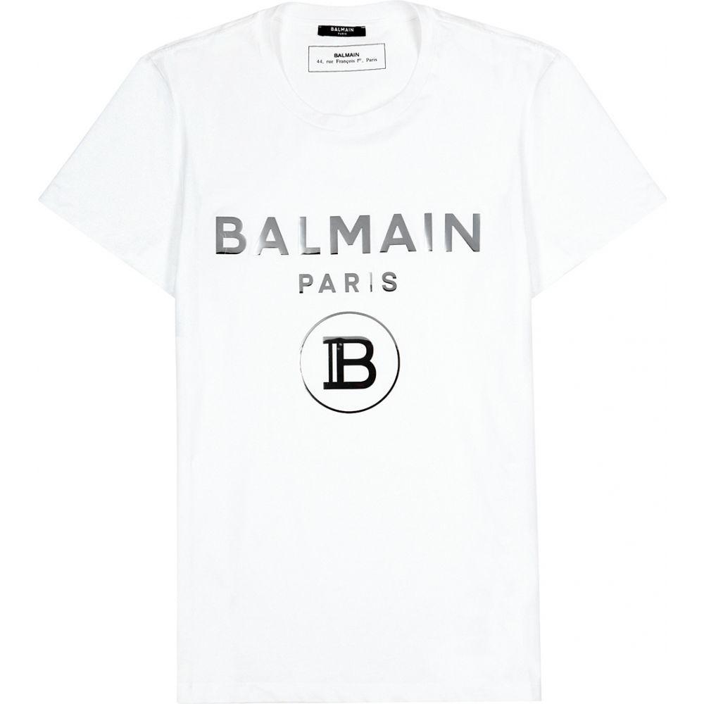 バルマン Balmain メンズ Tシャツ トップス【White Logo-Print Cotton T-Shirt】White