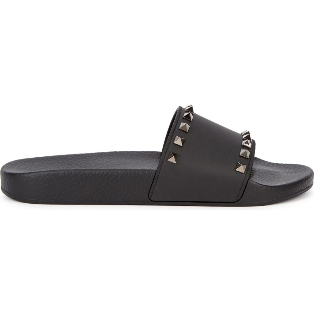 ヴァレンティノ Valentino レディース サンダル・ミュール シューズ・靴【Garavani Rockstud Black Rubberised Sliders】Black