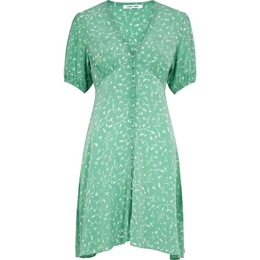 サムソエ&サムソエ Samsoe & Samsoe レディース ワンピース ミニ丈 ワンピース・ドレス【Petunia Mint Floral-Print Mini Dress】Green