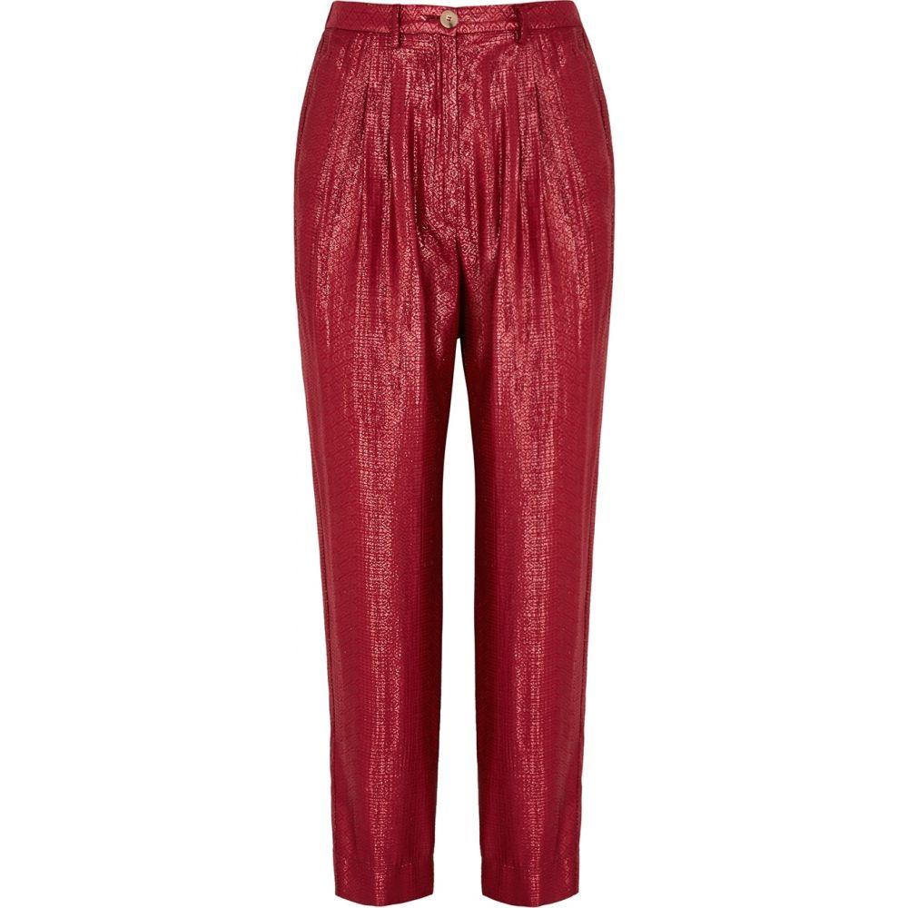 フォルテ フォルテ forte_forte レディース ボトムス・パンツ 【Mozaik Red Lame-Jacquard Trousers】Red