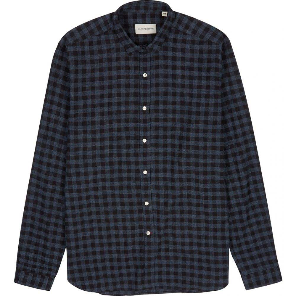オリバー スペンサー Oliver Spencer メンズ シャツ トップス【Clerkenwell Checked Brushed-Cotton Shirt】Blue