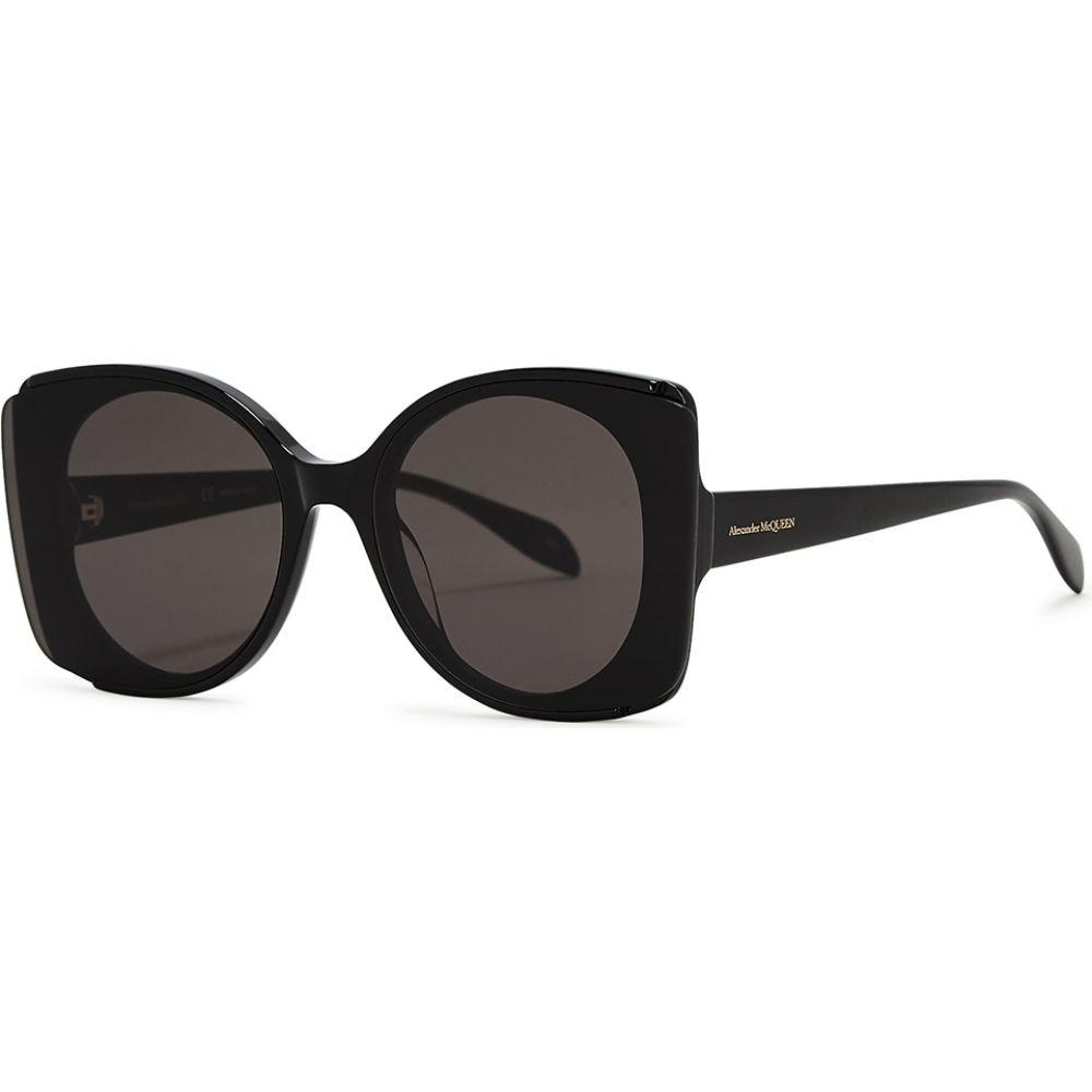 アレキサンダー マックイーン Alexander McQueen レディース メガネ・サングラス 【Black Oversized Sunglasses】Black