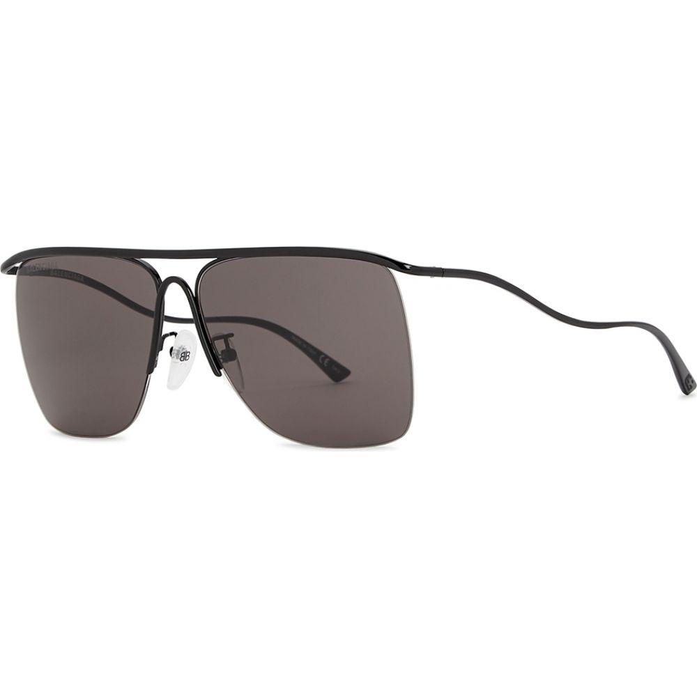バレンシアガ Balenciaga メンズ メガネ・サングラス 【Black Aviator-Style Sunglasses】Black